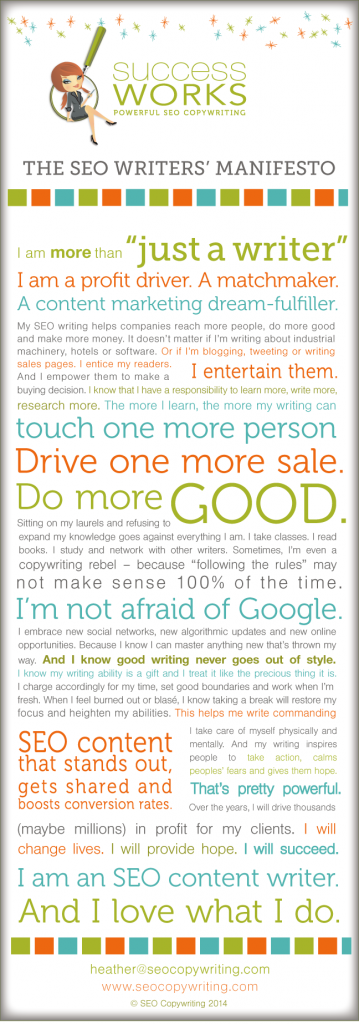 "Heather Lloyd-Martin:  ""The SEO content writers' manifesto"""